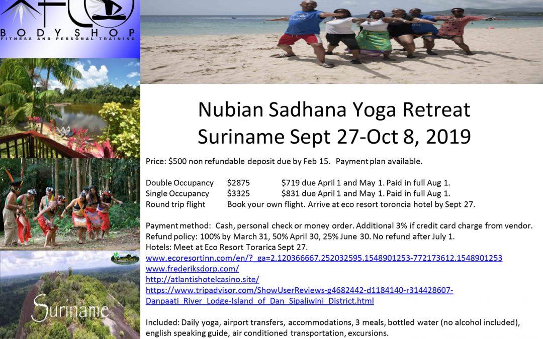 NUBIAN SADHANA SURINAME YOGA RETREAT 2019